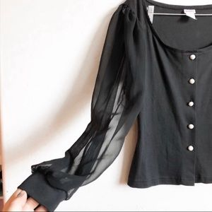 *VINTAGE* Sheer Sleeve Faux Pearl Button Down Top